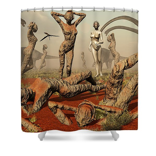 Artists Concept Of Mutated Dinosaurs Shower Curtain by Mark Stevenson