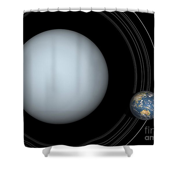 Artists Concept Of Uranus And Earth Shower Curtain by Walter Myers