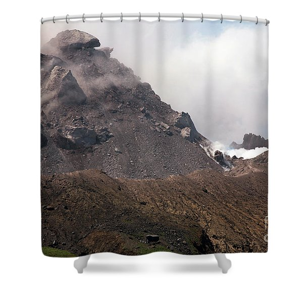 Ash And Gas Rising From Lava Dome Shower Curtain by Richard Roscoe