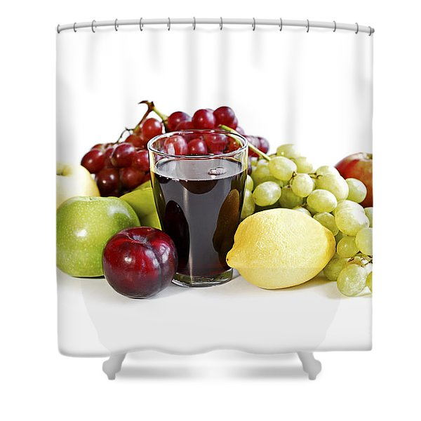 Assorted Fruits On White Shower Curtain by Elena Elisseeva