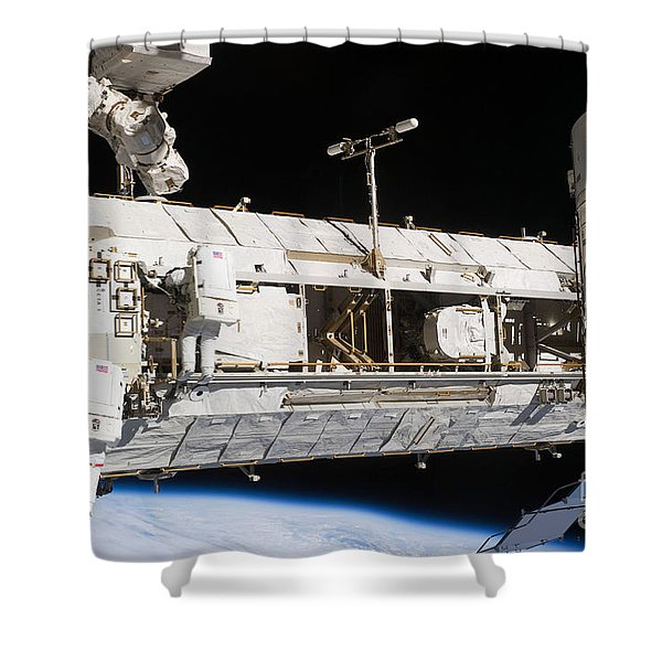 Astronauts Continue Maintenance Shower Curtain by Stocktrek Images