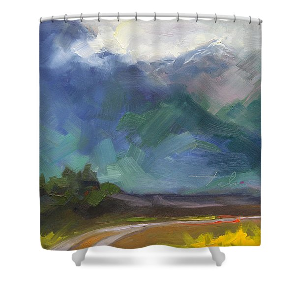At The Feet Of Giants Shower Curtain by Talya Johnson
