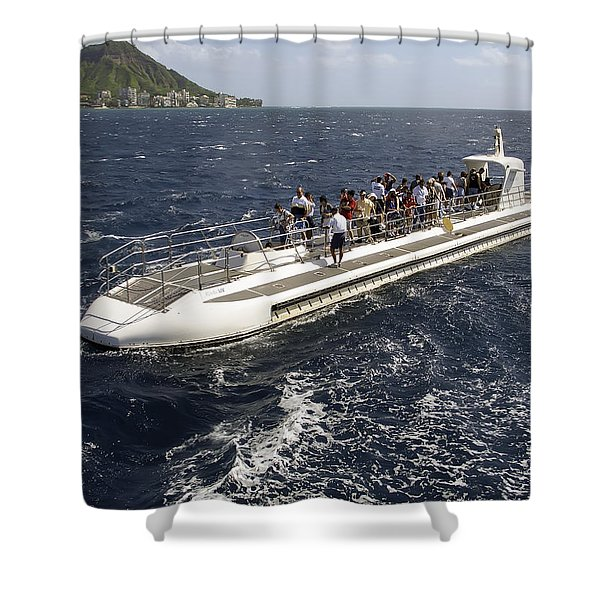 Atlantis Submarine - Waikiki Bay Hawaii Shower Curtain by Daniel Hagerman