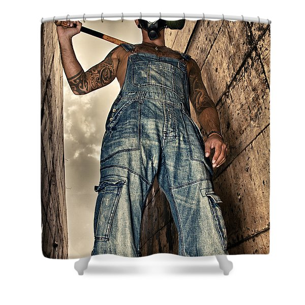 attitude Shower Curtain by Stylianos Kleanthous