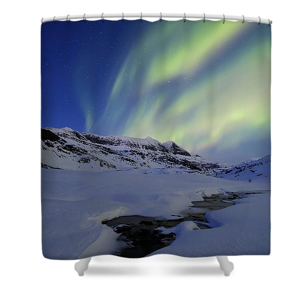 Aurora Over Skittendalstinden In Troms Shower Curtain by Arild Heitmann