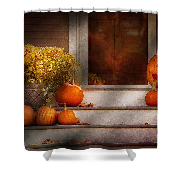 Autumn - Halloween - We're all happy to see you Shower Curtain by Mike Savad
