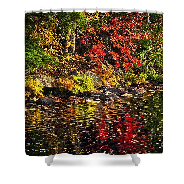 Autumn forest and river landscape Shower Curtain by Elena Elisseeva