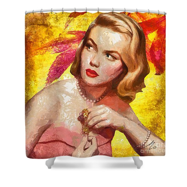 Autumn Girl Shower Curtain by Mo T