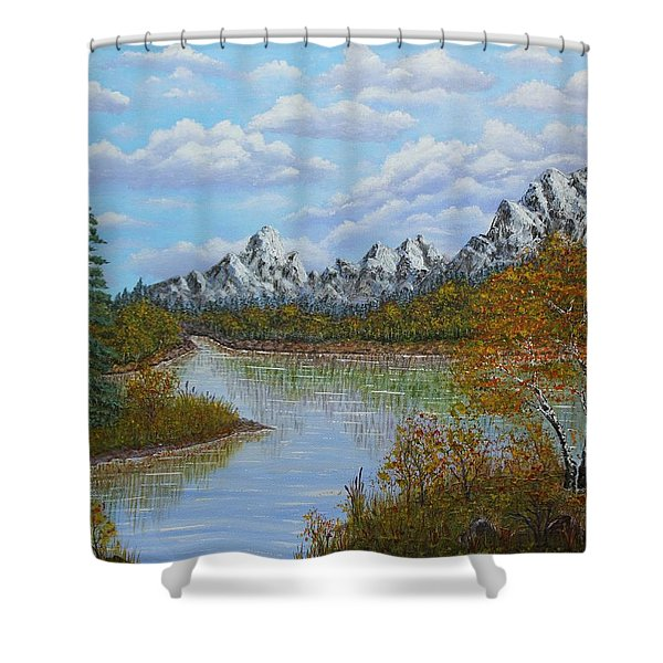 Autumn Mountains Lake Landscape Shower Curtain by Georgeta  Blanaru