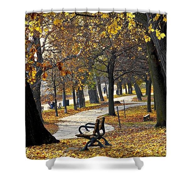 Autumn Park In Toronto Shower Curtain by Elena Elisseeva