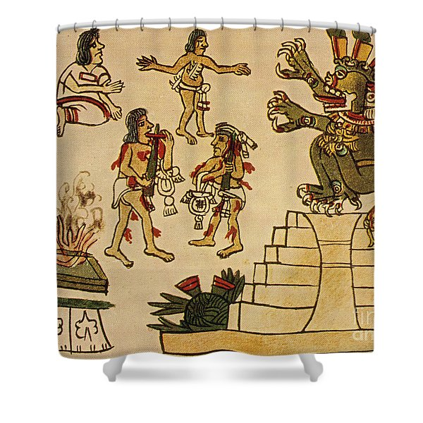 Aztec Priests Appease Mictlantecuhtli Shower Curtain by Photo Researchers