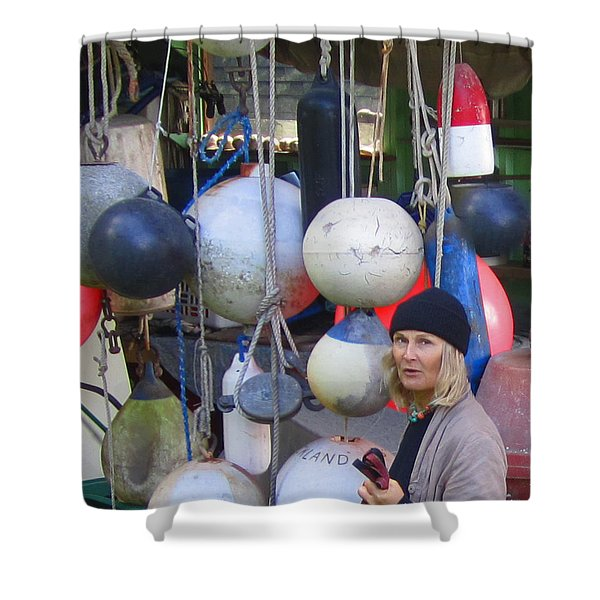 Babe With The Buoys Shower Curtain by Kym Backland