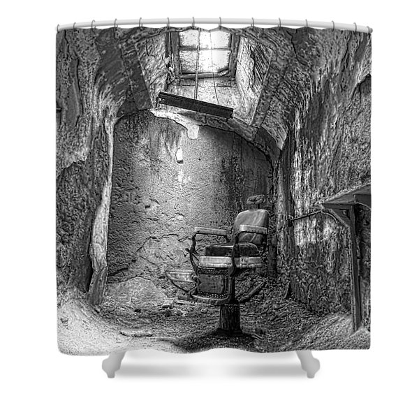 Barber - Chair - Eastern State Penitentiary - Black And White Shower Curtain by Paul Ward