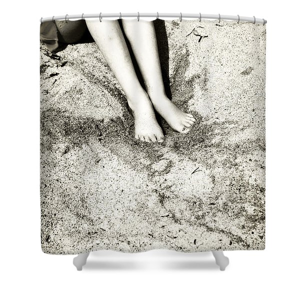 barefoot in the sand Shower Curtain by Joana Kruse
