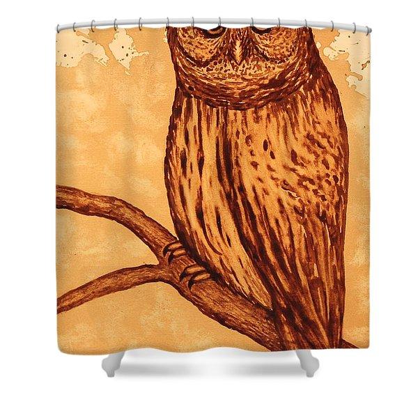 Barred Owl coffee painting Shower Curtain by Georgeta  Blanaru