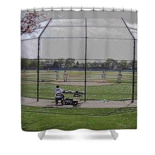 Baseball Warm Ups Digital Art Shower Curtain by Thomas Woolworth