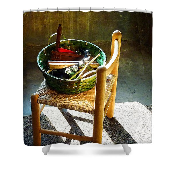 Basket Of Toy Instruments Shower Curtain by Susan Savad