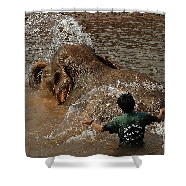 Bath Time In Laos Shower Curtain by Bob Christopher