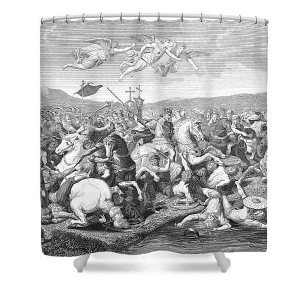 Battle Of The Milvian Bridge, 312 Ad Shower Curtain by Photo Researchers