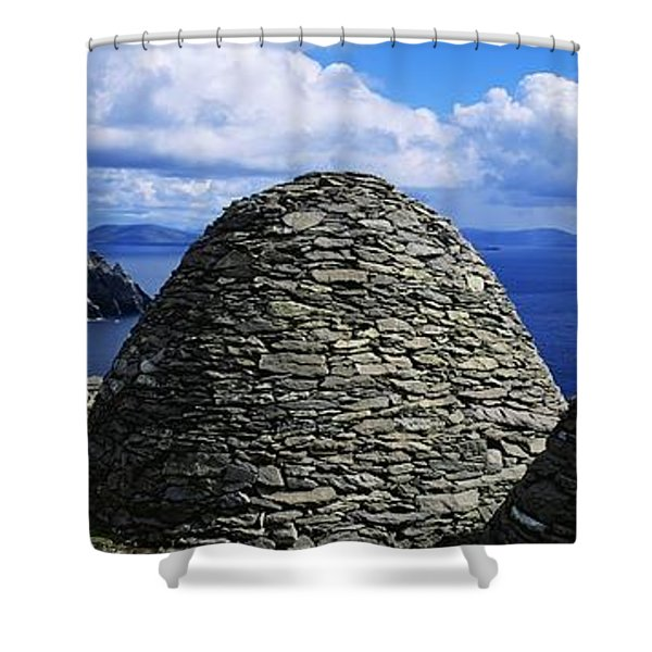 Beehive Huts At The Coast, Skellig Shower Curtain by The Irish Image Collection