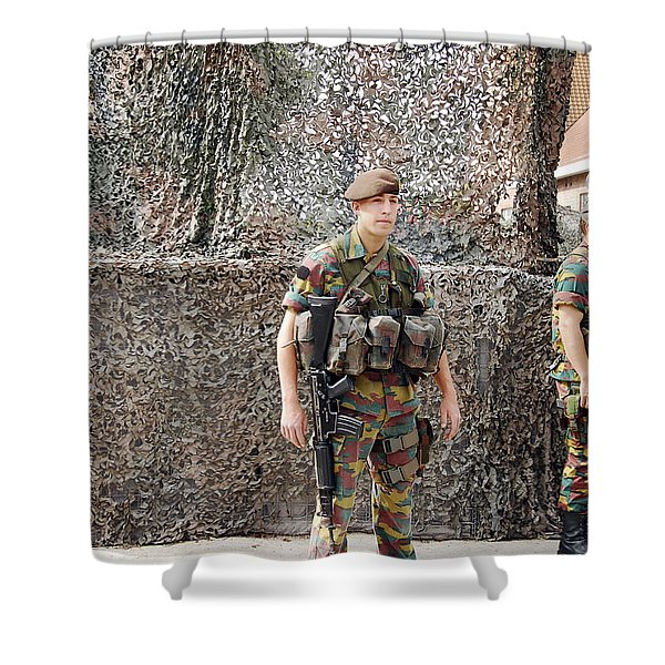 Belgian Soldier On Guard Shower Curtain by Luc De Jaeger