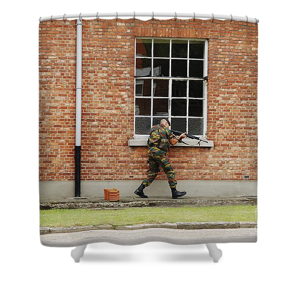 Belgian Soldiers On Patrol Shower Curtain by Luc De Jaeger