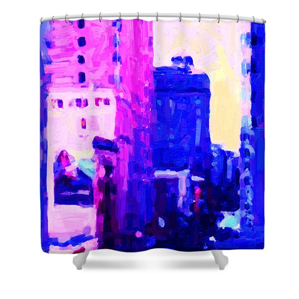 Big City Blues Shower Curtain by Wingsdomain Art and Photography