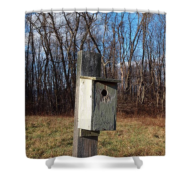 birdhouse on a pole Shower Curtain by Robert Margetts