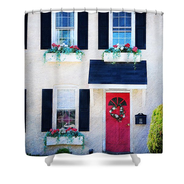 Black Window Shutters with Flowers Shower Curtain by Paul Ward