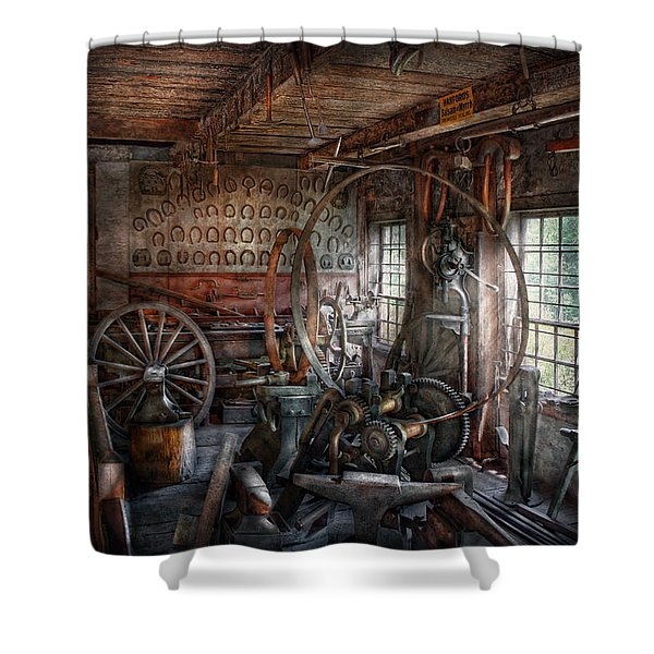 Blacksmith - That's a lot of Hoopla Shower Curtain by Mike Savad