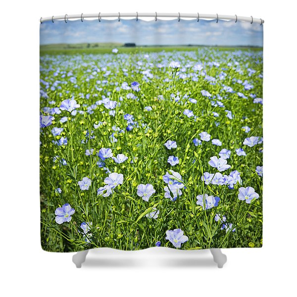 Blooming Flax Field Shower Curtain by Elena Elisseeva