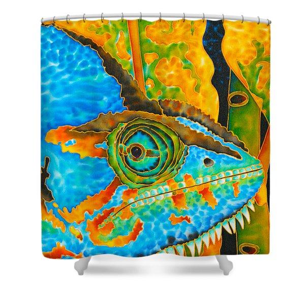 Blue Chameleon Shower Curtain by Daniel Jean-Baptiste