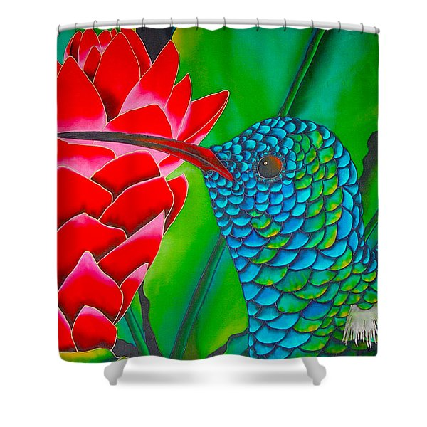 Blue Hummingbird Shower Curtain by Daniel Jean-Baptiste