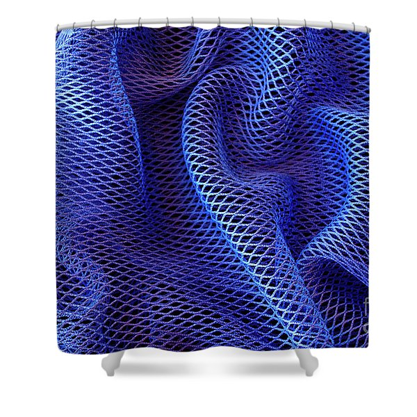 Blue Net Background Shower Curtain by Carlos Caetano