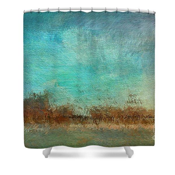Blue Sky And Beach Shower Curtain by Deborah Benoit
