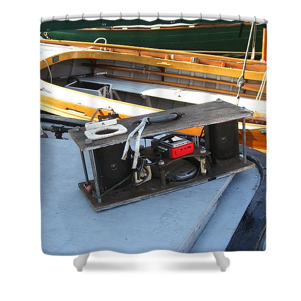 Boat Builders Music Box Shower Curtain by Kym Backland