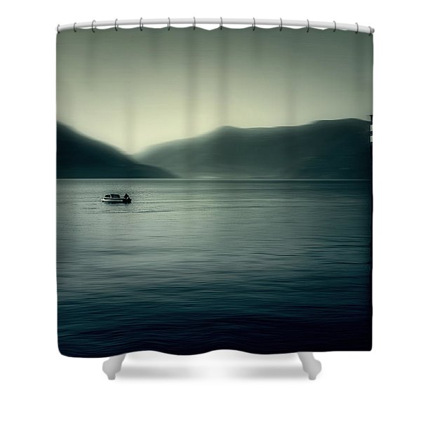 boat on the Lake Maggiore Shower Curtain by Joana Kruse