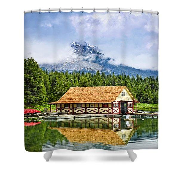 Boathouse on mountain lake Shower Curtain by Elena Elisseeva