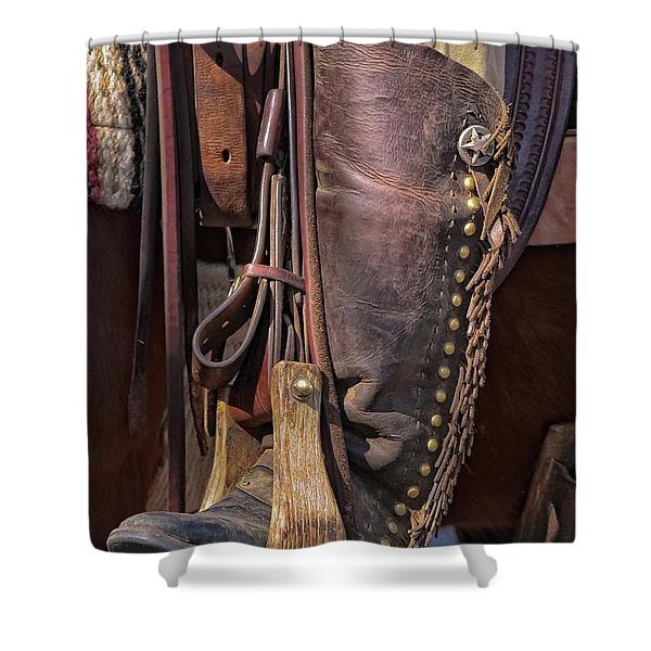 Boots Of A Drover Shower Curtain by Joan Carroll