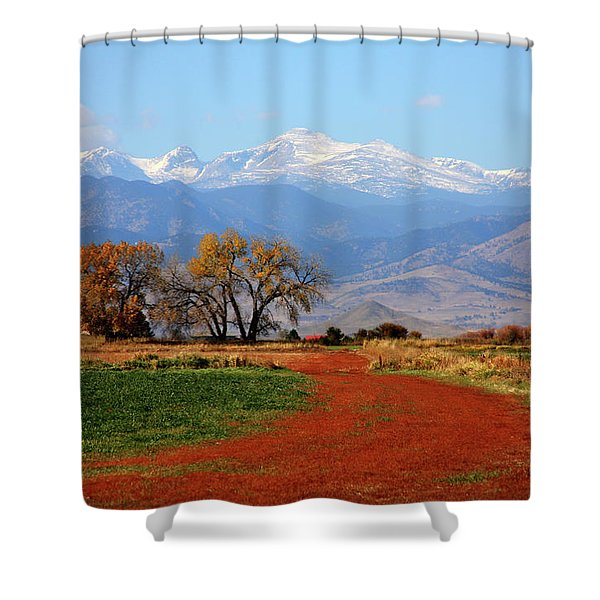Boulder County Colorado Landscape Red Road Autumn View Shower Curtain by James BO  Insogna