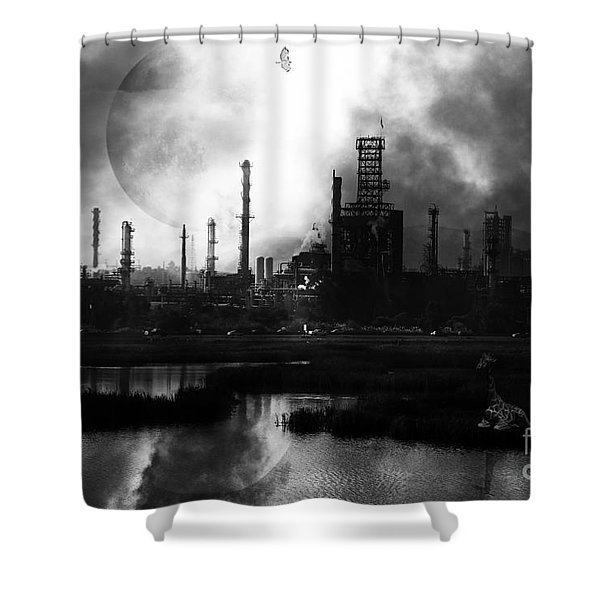 Brave New World - Version 2 - Black and White - 7D10358 Shower Curtain by Wingsdomain Art and Photography