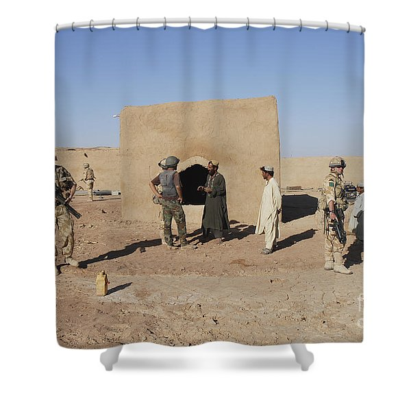 British Soldiers On Foot Patrol Shower Curtain by Andrew Chittock