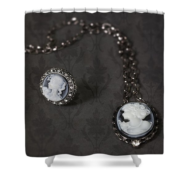 brooch and necklace Shower Curtain by Joana Kruse