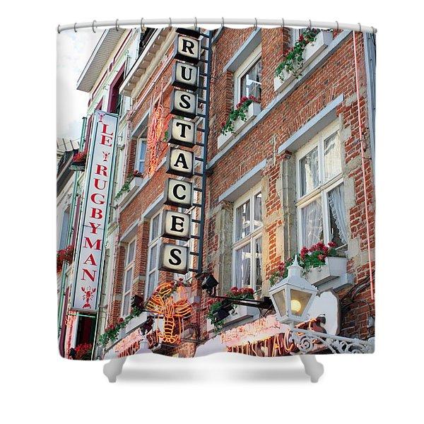 Brussels - Place Sainte Catherine Restaurants Shower Curtain by Carol Groenen