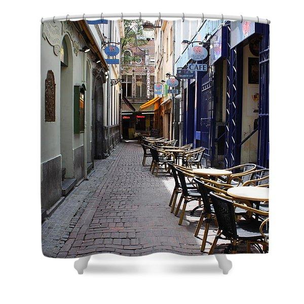 Brussels Side Street Cafe Shower Curtain by Carol Groenen