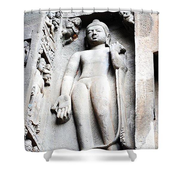 Buddha Statue At Ajanta Caves India Shower Curtain by Sumit Mehndiratta