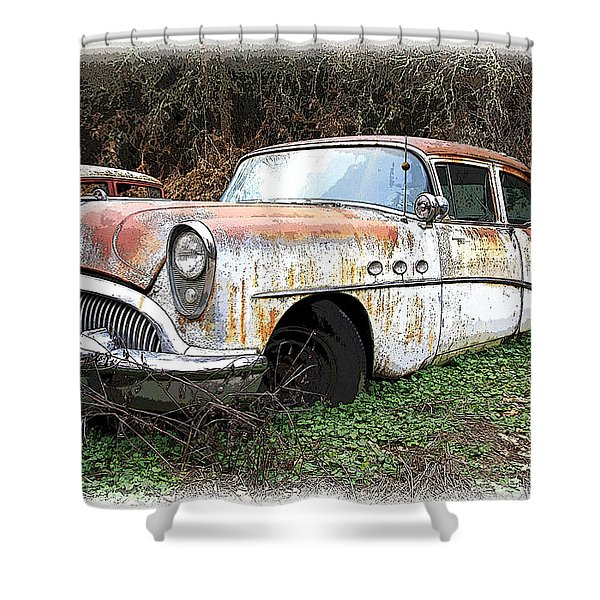 Buick Yard Shower Curtain by Steve McKinzie