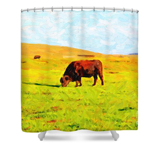 Bull Grazing in the Field Shower Curtain by Wingsdomain Art and Photography