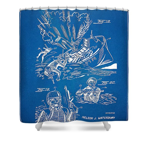 Bulletproof Patent Artwork 1968 Figures 18 To 20 Shower Curtain by Nikki Marie Smith