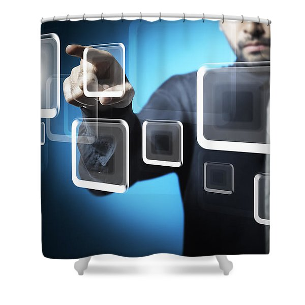 Businessman touching screen button Shower Curtain by Setsiri Silapasuwanchai